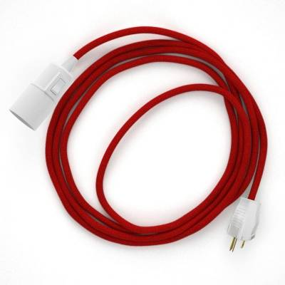 Plug-in Pendant with switch on socket | RC35 Red Cotton