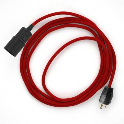 Plug-in Pendant with switch on socket   RC35 Red Cotton