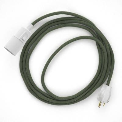 Plug-in Pendant with switch on socket   RC63 Gray Green Cotton