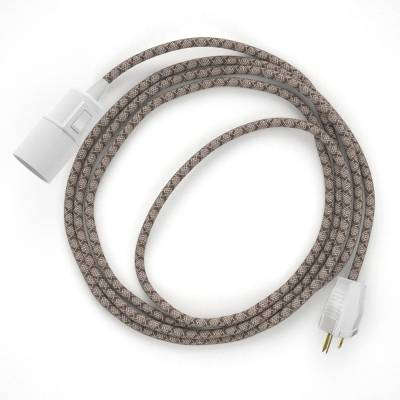 Plug-in Pendant with switch on socket   RD63 Natural & Brown Linen CrissCross