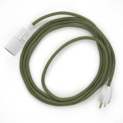 Plug-in Pendant with switch on socket | RD72 Natural & Thyme Green Linen Chevron