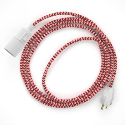 Plug-in Pendant with switch on socket | RZ09 Red & White Chevron