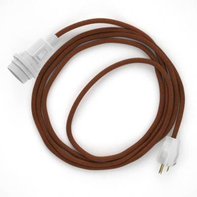 Plug-in Pendant for Lampshade with switch on socket | RC23 Rust Cotton