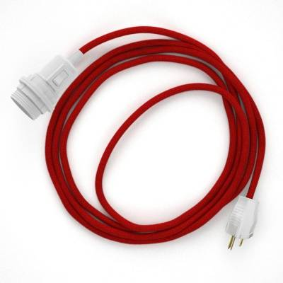 Plug-in Pendant for Lampshade with switch on socket | RC35 Red Cotton