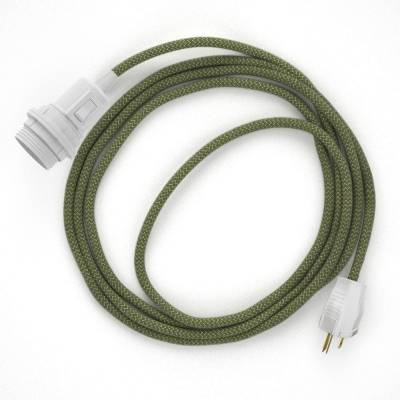 Plug-in Pendant for Lampshade with switch on socket | RD72 Natural & Thyme Green Linen Chevron