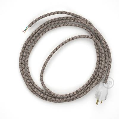 Cord-set - RD63 Natural & Brown Linen CrissCross Covered Round Cable