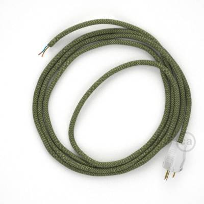 Cord-set - RD72 Natural & Thyme Green Linen Chevron Covered Round Cable