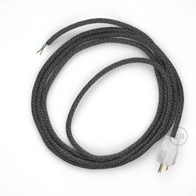 Cord-set - RS81 Black Glitter Cotton & Natural Linen Tweed Covered Round Cable