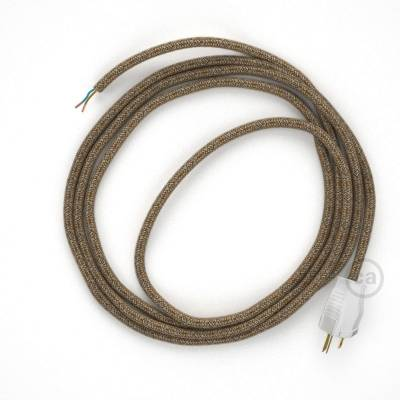 Cord-set - RS82 Brown Glitter Cotton & Natural Linen Tweed Covered Round Cable