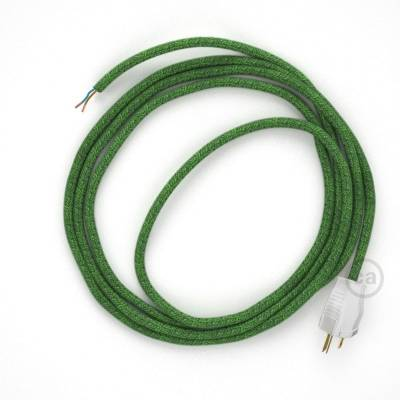 Cord-set - RX08 Green Cotton Tweed Covered Round Cable