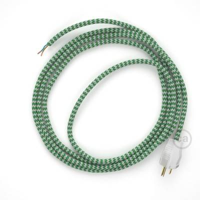 Cord-set - RZ06 Green & White Chevron Covered Round Cable