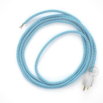 Cord-set - RZ11 Light Blue & White Chevron Covered Round Cable
