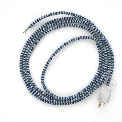 Cord-set - RZ12 Blue & White Chevron Covered Round Cable