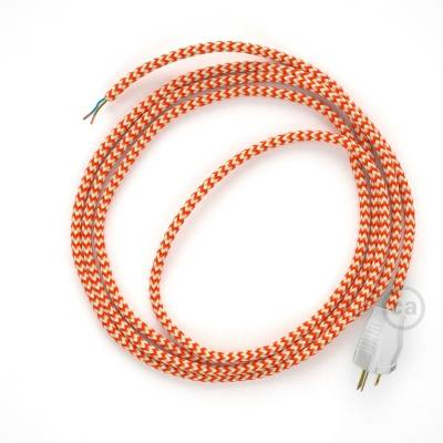 Cord-set - RZ15 Orange & White Chevron Covered Round Cable