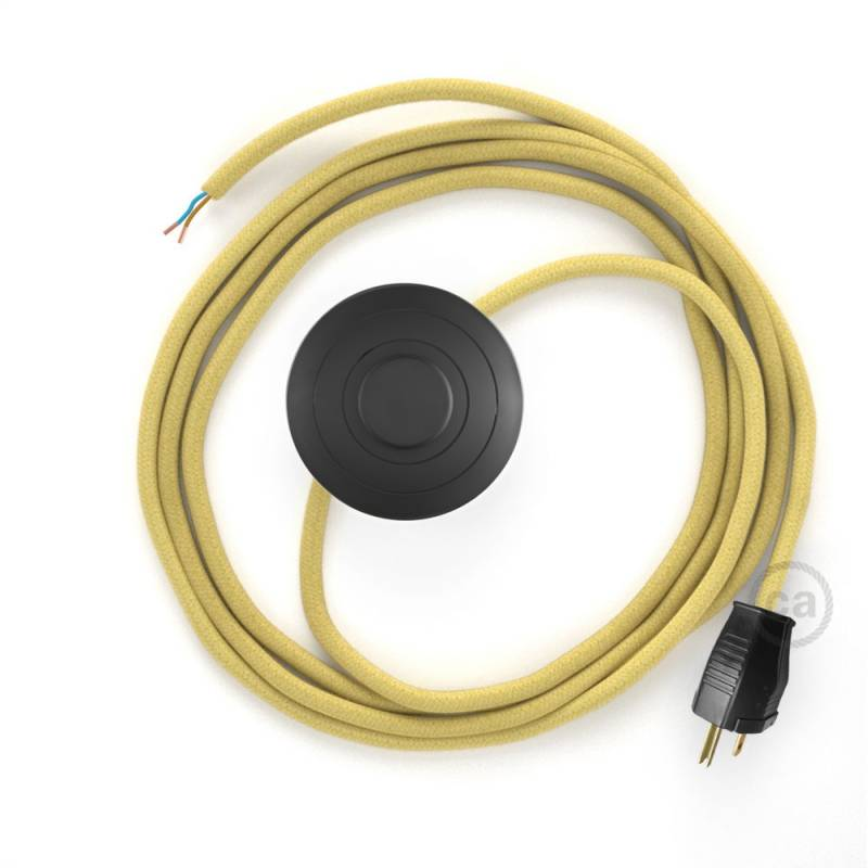 Power Cord with foot switch, RC10 Pale Yellow Cotton - Choose color of switch/plug