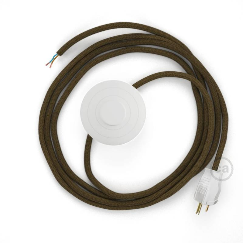 Power Cord with foot switch, RC13 Brown Cotton - Choose color of switch/plug