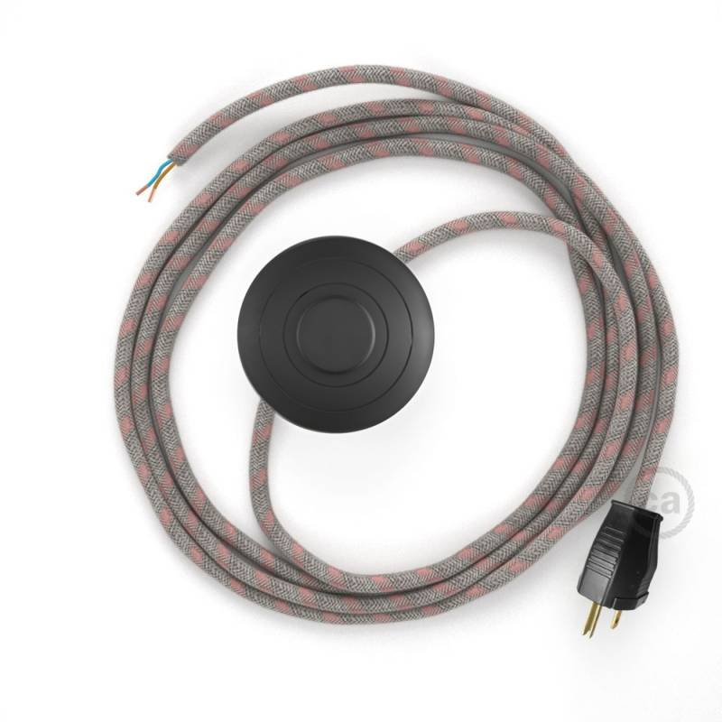 Power Cord with foot switch, RD51 Natural & Pink Linen Stripe - Choose color of switch/plug