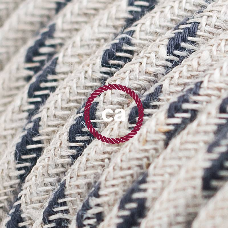 Power Cord with foot switch, RD54 Natural & Charcoal Linen Stripe - Choose color of switch/plug