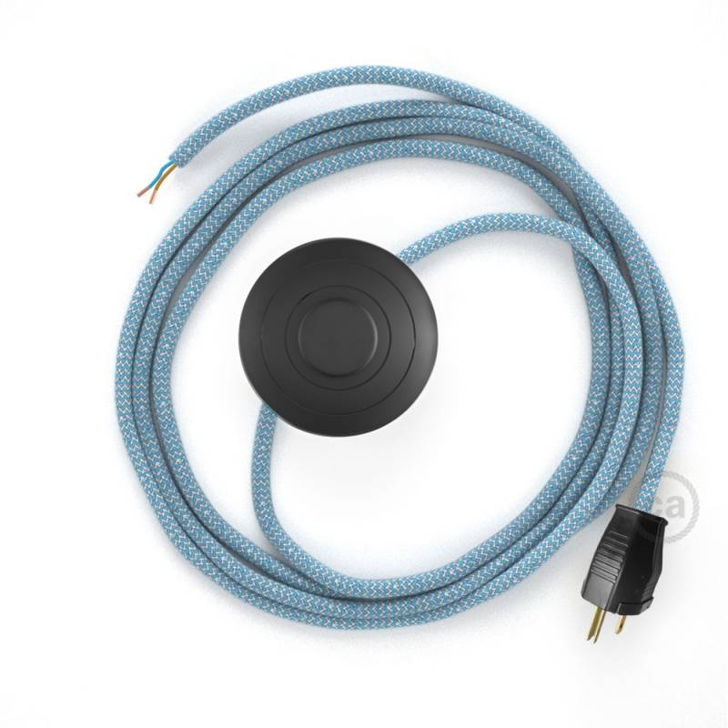 Power Cord with foot switch, RD75 Natural & Blue Linen Chevron - Choose color of switch/plug