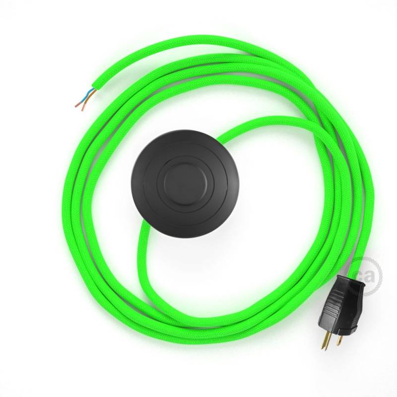 Power Cord with foot switch, RF06 Neon Green - Choose color of switch/plug