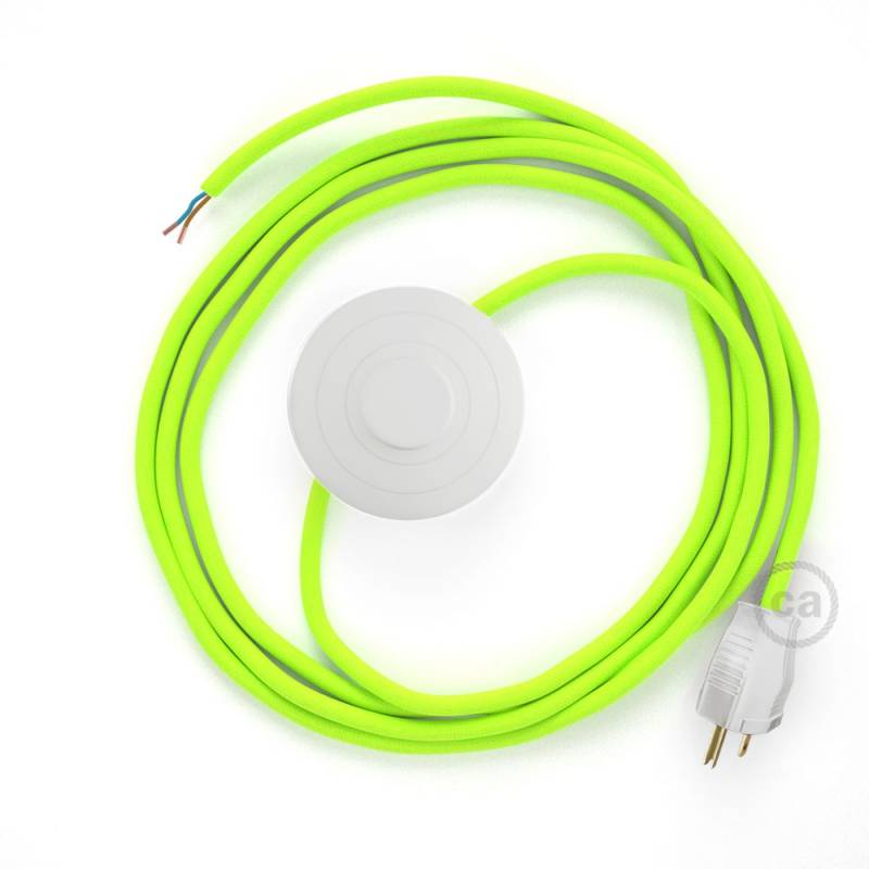 Power Cord with foot switch, RF10 Neon Yellow - Choose color of switch/plug