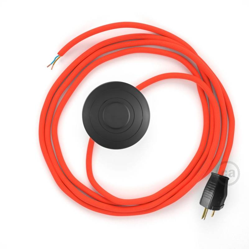 Power Cord with foot switch, RF15 Neon Orange - Choose color of switch/plug