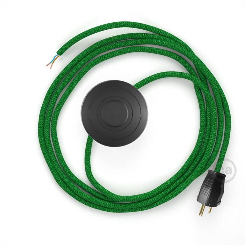 Power Cord with foot switch, RL06 Green Glitter - Choose color of switch/plug