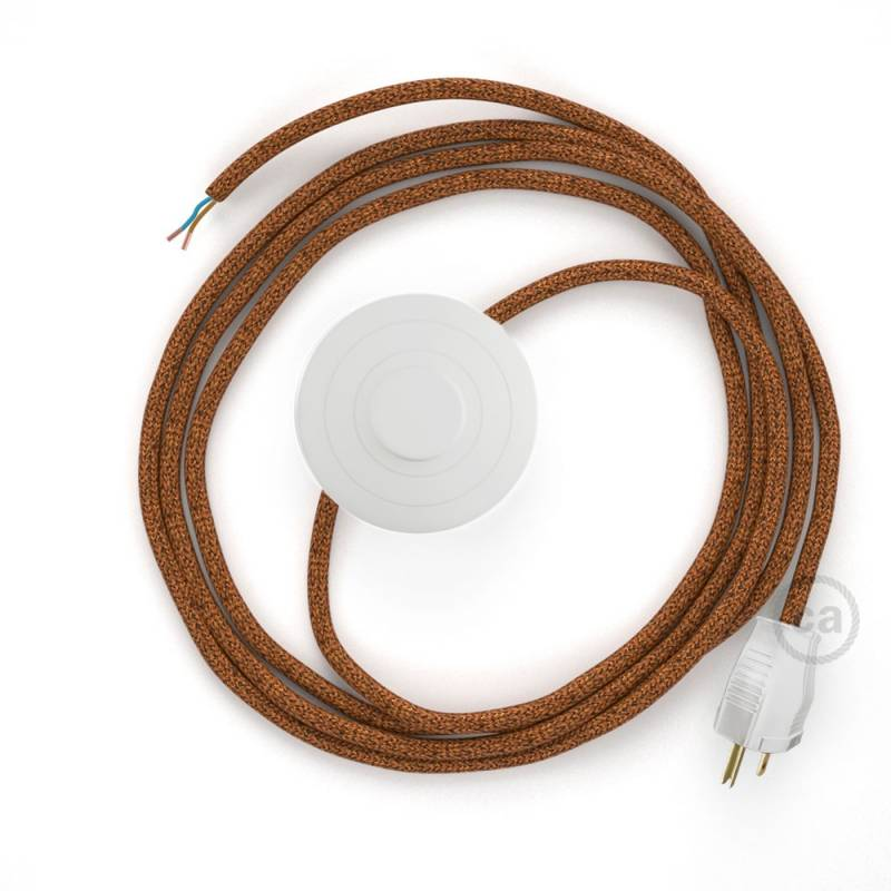 Power Cord with foot switch, RL22 Copper Glitter - Choose color of switch/plug