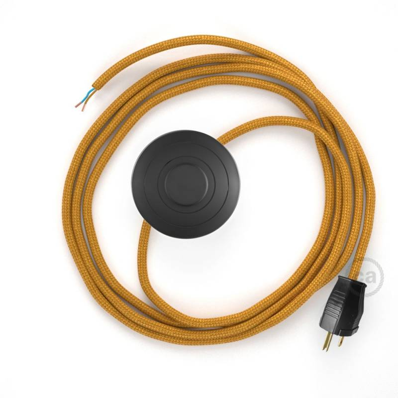 Power Cord with foot switch, RM05 Gold Rayon - Choose color of switch/plug