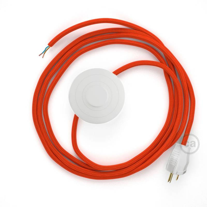 Power Cord with foot switch, RM15 Orange Rayon - Choose color of switch/plug