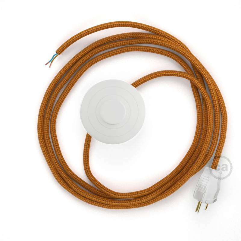 Power Cord with foot switch, RM22 Copper Rayon - Choose color of switch/plug