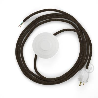 Power Cord with foot switch, RN04 Brown Linen - Choose color of switch/plug