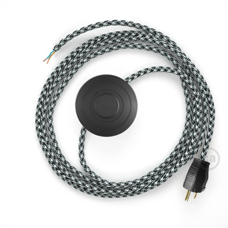 Power Cord with foot switch, RP04 Black & White Houndstooth - Choose color of switch/plug