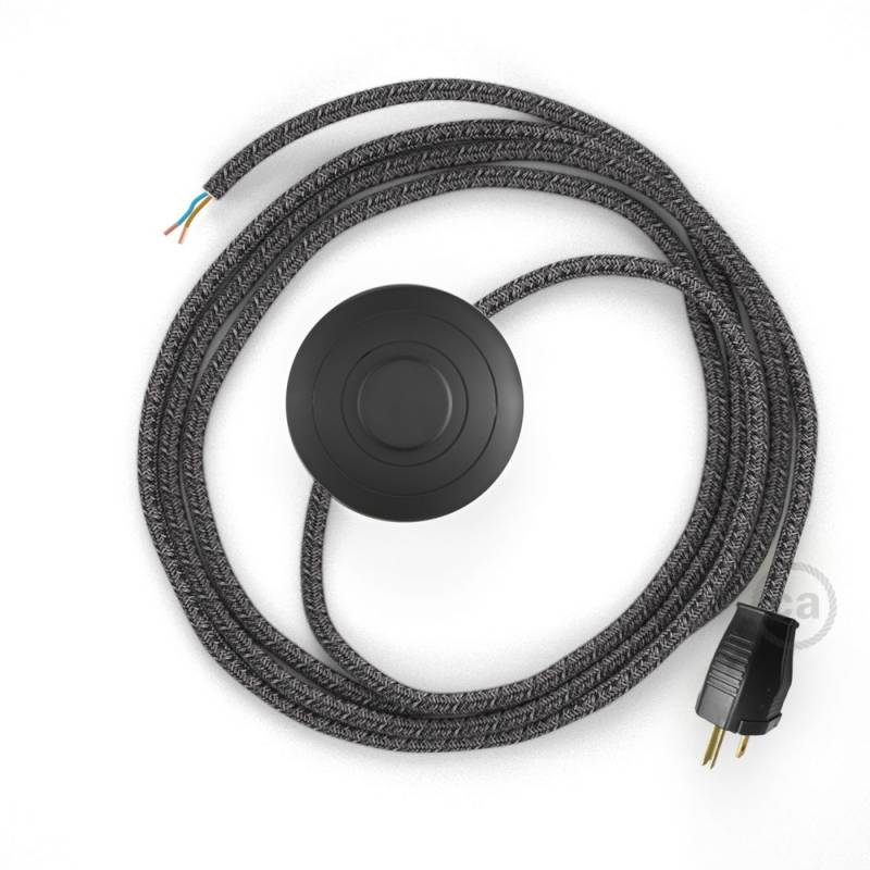 Power Cord with foot switch, RS81 Black Glitter Cotton & Natural Linen Tweed - Choose color of switch/plug