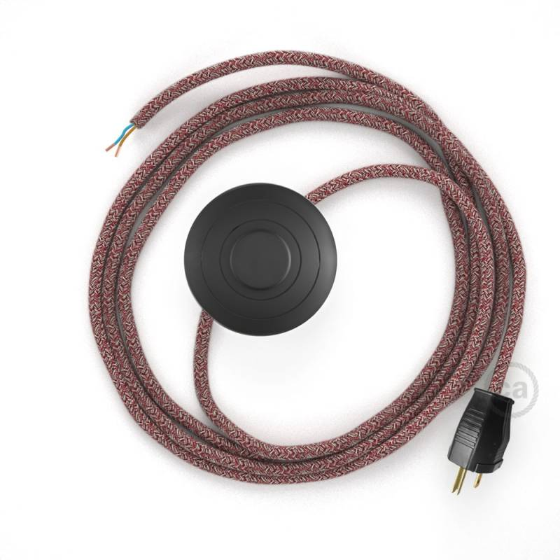 Power Cord with foot switch, RS83 Red Glitter Cotton & Natural Linen Tweed - Choose color of switch/plug