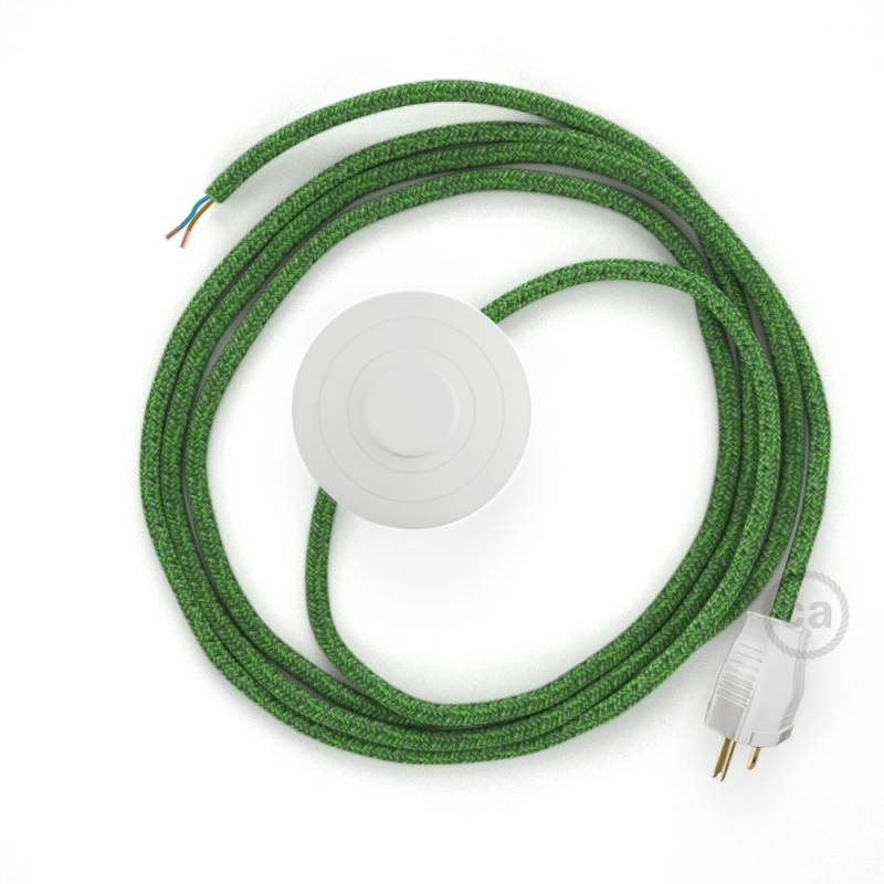 Power Cord with foot switch, RX08 Green Cotton Tweed - Choose color of switch/plug