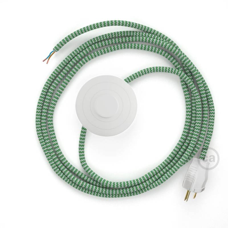 Power Cord with foot switch, RZ06 Green & White Chevron - Choose color of switch/plug