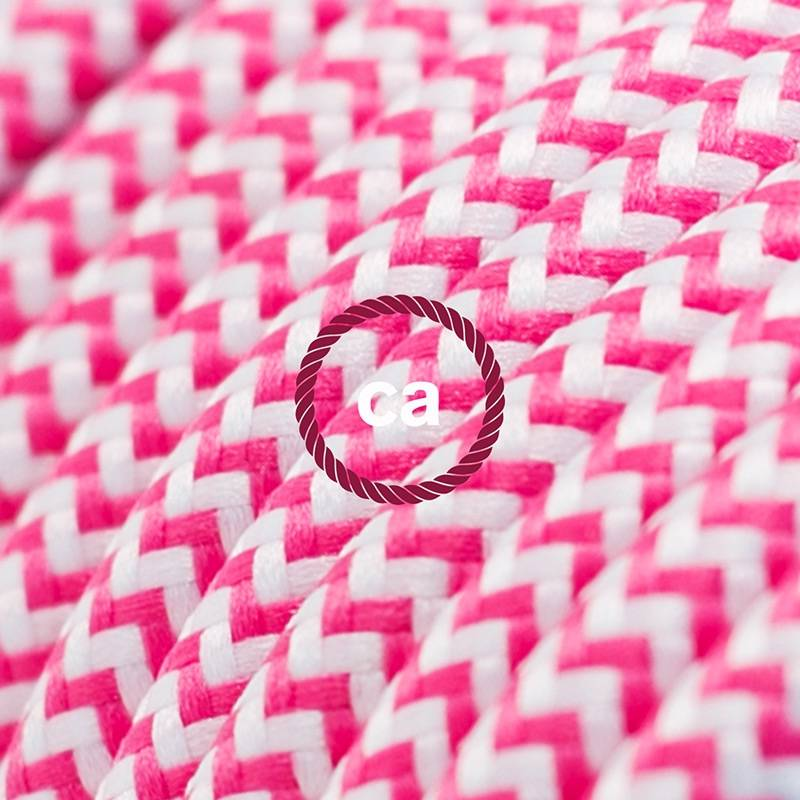 Power Cord with foot switch, RZ08 Fuchsia & White Chevron - Choose color of switch/plug