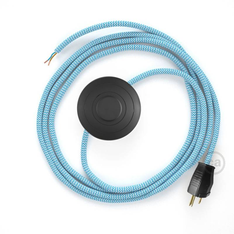 Power Cord with foot switch, RZ11 Light Blue & White Chevron - Choose color of switch/plug