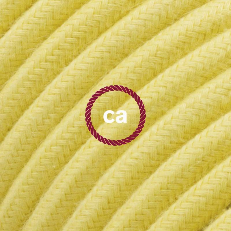 Power Cord with in-line switch, RC10 Pale Yellow Cotton - Choose color of switch/plug