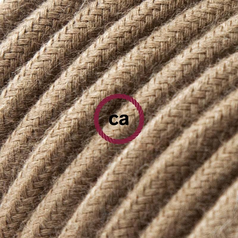 Power Cord with in-line switch, RC13 Brown Cotton - Choose color of switch/plug
