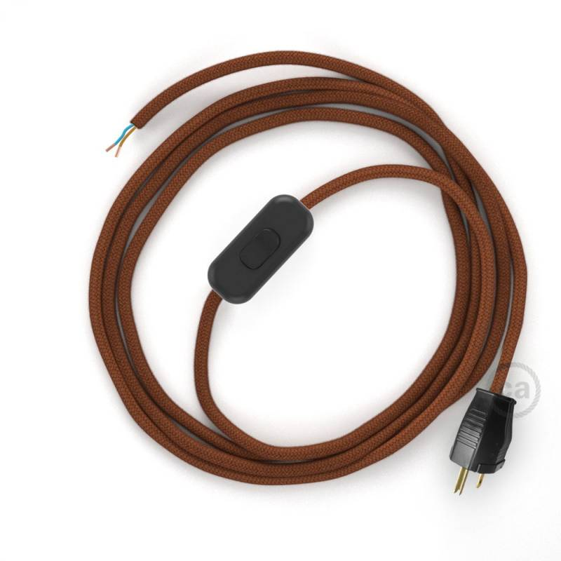 Power Cord with in-line switch, RC23 Rust Cotton - Choose color of switch/plug