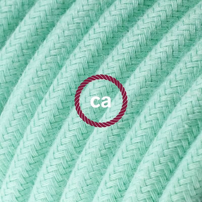 Power Cord with in-line switch, RC34 Mint Green Cotton - Choose color of switch/plug