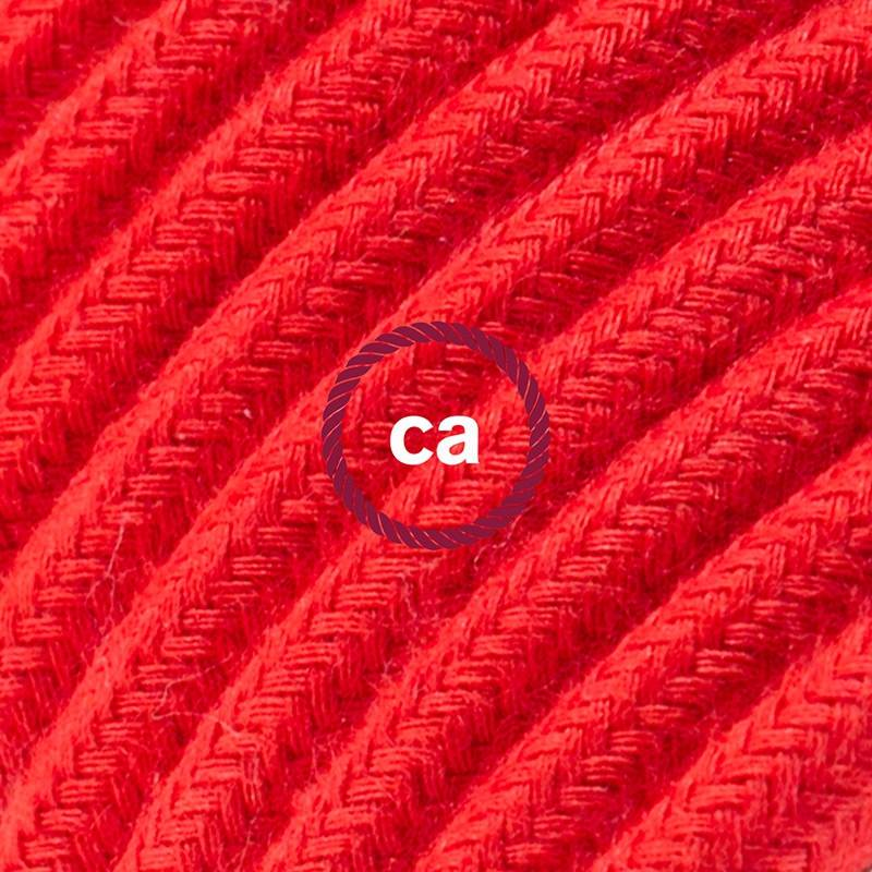 Power Cord with in-line switch, RC35 Red Cotton - Choose color of switch/plug