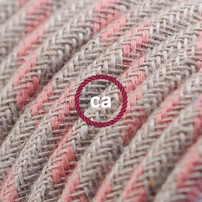 Power Cord with in-line switch, RD51 Natural & Pink Linen Stripe - Choose color of switch/plug
