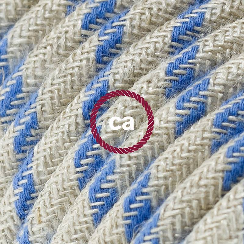 Power Cord with in-line switch, RD55 Natural & Blue Linen Stripe - Choose color of switch/plug