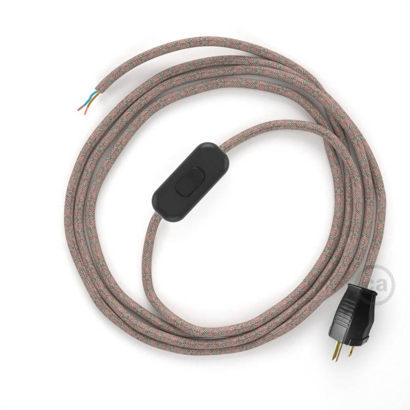 Power Cord with in-line switch, RD61 Natural & Pink Linen CrissCross - Choose color of switch/plug