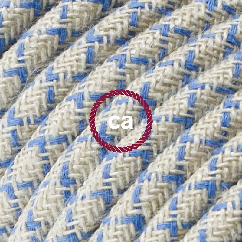 Power Cord with in-line switch, RD65 Natural & Blue Linen Criss Cross - Choose color of switch/plug