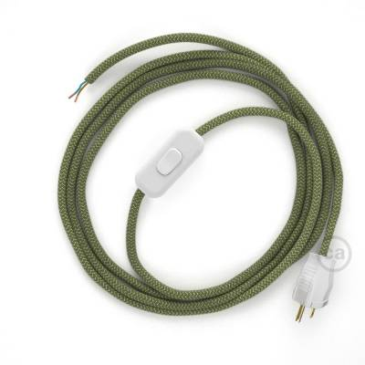 Power Cord with in-line switch, RD72 Natural & Thyme Green Linen Chevron - Choose color of switch/plug