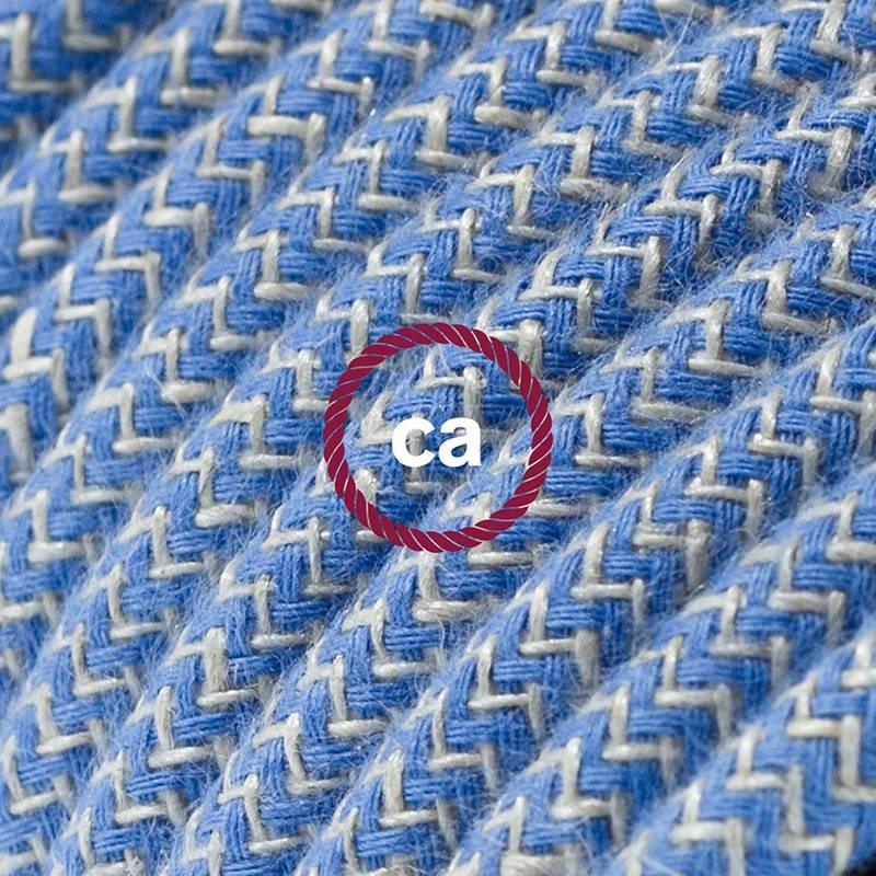 Power Cord with in-line switch, RD75 Natural & Blue Linen Chevron - Choose color of switch/plug